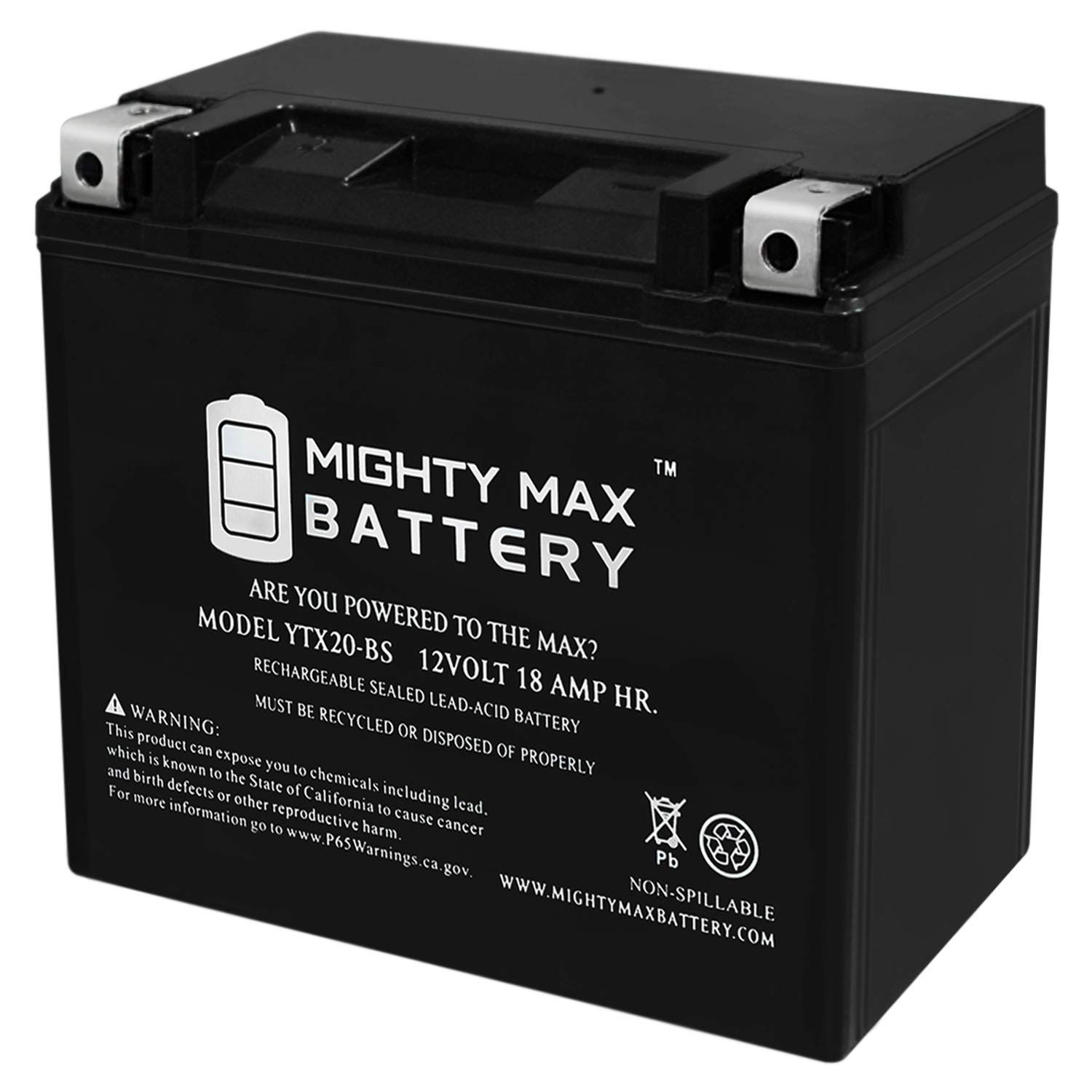 YTX20-BS - 12V 18AH 270 CCA - SLA Power Sport Battery - Mighty Max Battery Brand Product