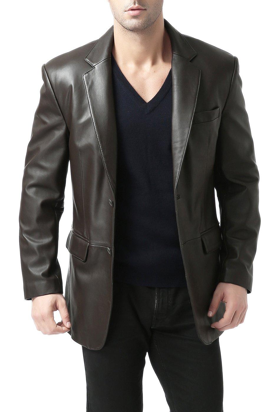 BGSD Men's Brown Leather Blazer Lambskin Sport Coat Jacket (Regular Big & Tall and Short)