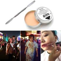 COKOHAPPY Halloween Party Stage Special Effects Wound Scar Nude Color Putty/Wax with Double Ended Spatula Fake Face Paint Fancy Cosplay Makeup (1.76oz)