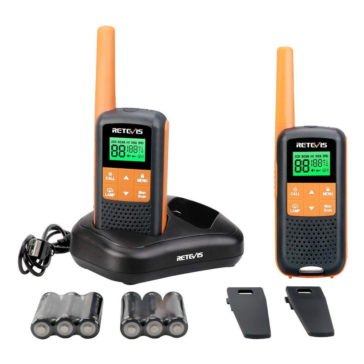 Retevis RT49 Walkie Talkies for Adults Rechargeable FRS NOAA Weather Alert LCD AA Battery Flashlight Dual Watch VOX Waterproof Two-Way Radios(2 Pack)