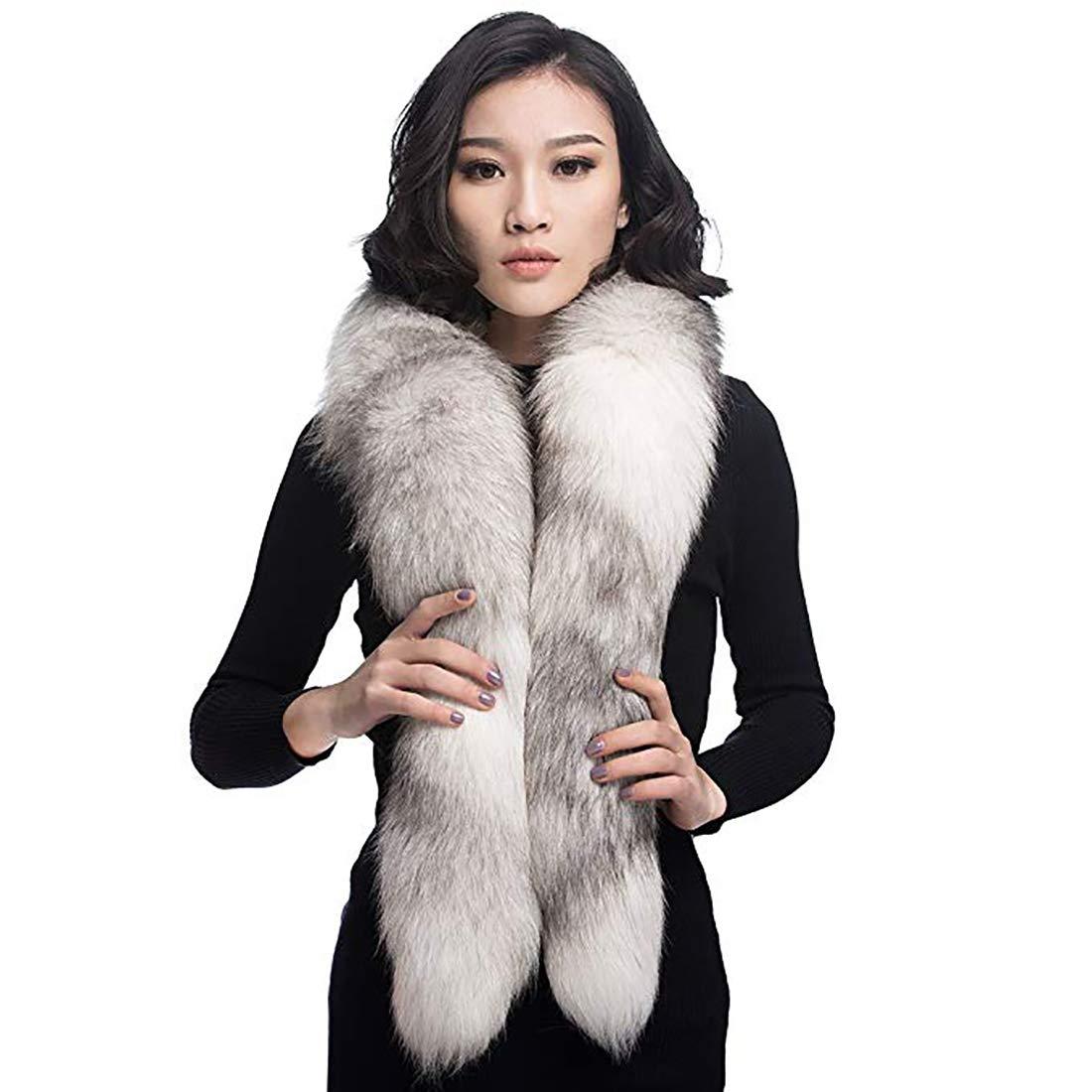 URSFUR Fox Fur Boa Scarf, Women Real Fox Fur Scarf Collar Warm Neck Winter Fur Scarf for Coat