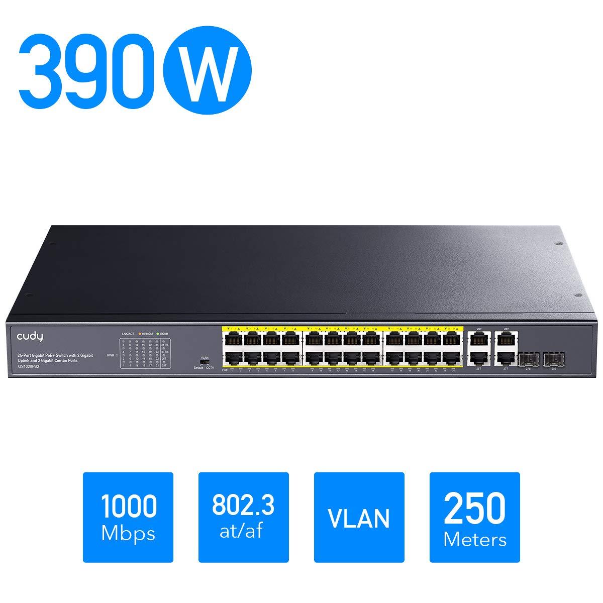 Cudy GS1028PS2 24+4-Port Gigabit Ethernet Unmanaged PoE+ Switch, 390W, 24 100/1000Mbps PoE+ Ports, 2 Gigabit SFP Combo, CCTV/VLAN Mode, 19-inch Rackmount, 802.3af/at