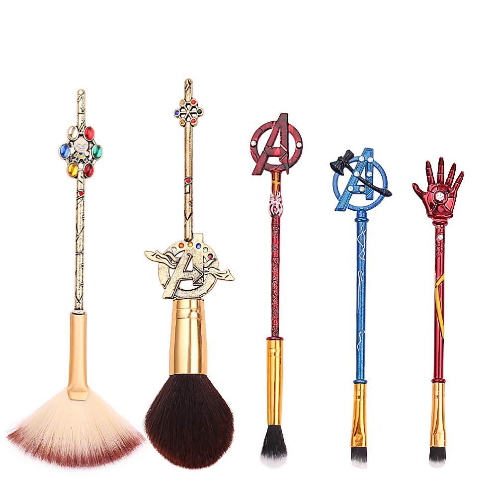 5Pcs Profession Avengers Makeup Brushes - Avengers Professional Cosmetic Brushes Foundation Blending Blush Eye Shadows Face Powder Fan Brushes Kit Perfect Gift for Marvel Fans (5pcs)