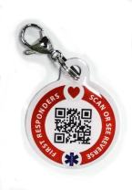 Dynotag Web Enabled Smart Medical ID/Emergency Information Round Steel Tag - 30 mm. Includes Lobster Clasp, with DynoIQ & Lifetime Service.