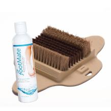 The FootMate® System Foot Brush Scrubber + Rejuvenating Gel - Beige - Complete Foot Transformation® System w/Foot Reflexology - Clean, Soothe, and Massage Your Feet - Made in The USA