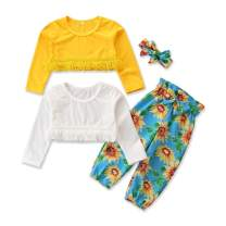 Toddler Baby Girl Sunflower Outfit Set 4Pcs 2 Long Sleeve Tassel Tops+ Floral Pants Clothes Set+ Headband