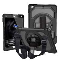 iPad 9.7 2018/2017 Case with Strap, CLARKCAS Shockproof Heavy Duty Protective Rugged Case for iPad 5th/6th Generation 9.7 inch with 360° Swivel Stand, Hand Grip Strap, Adjustable Shoulder Strap, Black