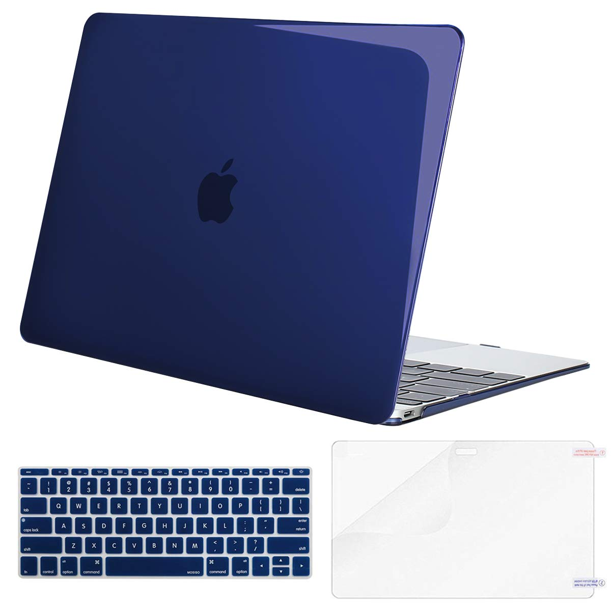 MOSISO Plastic Hard Shell Case & Keyboard Cover Skin & Screen Protector Compatible with MacBook 12 inch with Retina Display (Model A1534, Release 2017 2016 2015), Crystal Navy Blue