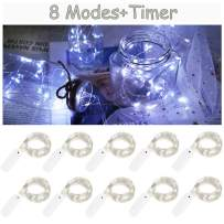 10 Pack 8 Modes Fairy Lights Battery Operated 6.6ft 20 Led Mini String Lights Silver Wire Starry Lights for DIY Wedding Party Festival Halloween Christmas (Cool White)