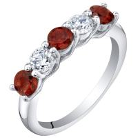 Sterling Silver Genuine, Created or Simulated Gemstones Five-Stone Trellis Ring Band Sizes 5 to 9