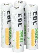 EBL AA 2800mAh High Performance Ni-MH Rechargeable Batteries, 4 Pack