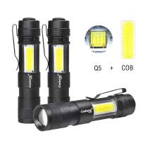 Garberiel Handheld Mini COB Flashlight, 3 Pack 4 Modes Adjustable Waterproof LED Flashlight Torch Light for Indoor and Outdoor Use[3 pcs Battery not Include]