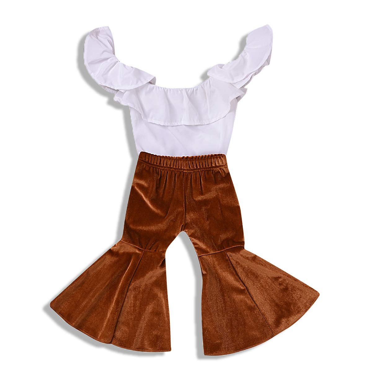 ZOELNIC Baby Girl Pants Set Toddler Girls Ruffle Off Shoulder Tops+Velvet Bell-Bottom Flared Pants Outfits