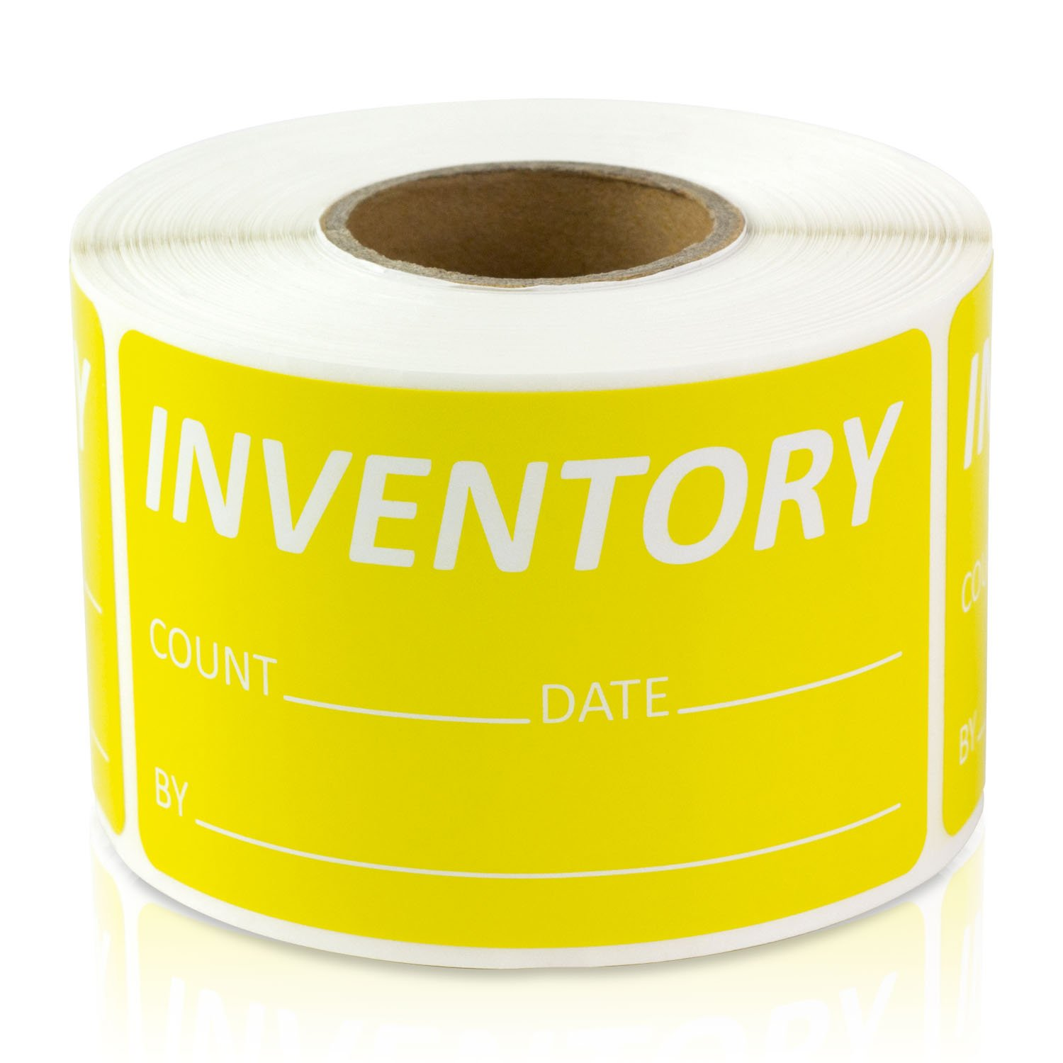 "Inventory Count Date by 1.5"" x 2.5"" Labels Stickers (Yellow / 300 Labels per roll / 4 Rolls)"