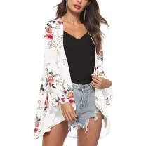 Exlura Women's Floral Print Chiffon Sheer Kimono Cardigan Casual Open Front Shawl Cover up Blouse Tops