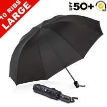 "ABCCANOPY Umbrella Compact Rain&Wind Teflon Repellent Umbrellas Sun Protection with Black Glue Anti UV Coating Travel Auto Folding Umbrella, Blocking UV 99.98%,43"",Black"