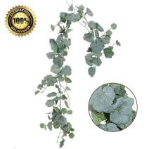 LASPERAL 1 Pc Artificial Hanging Leaves Vines, 5.5 Ft Faux Begonia Leaves Twigs Silk Plant Leaves Garland String in Green for Indoor/Outdoor Wedding Decor Party Supplies