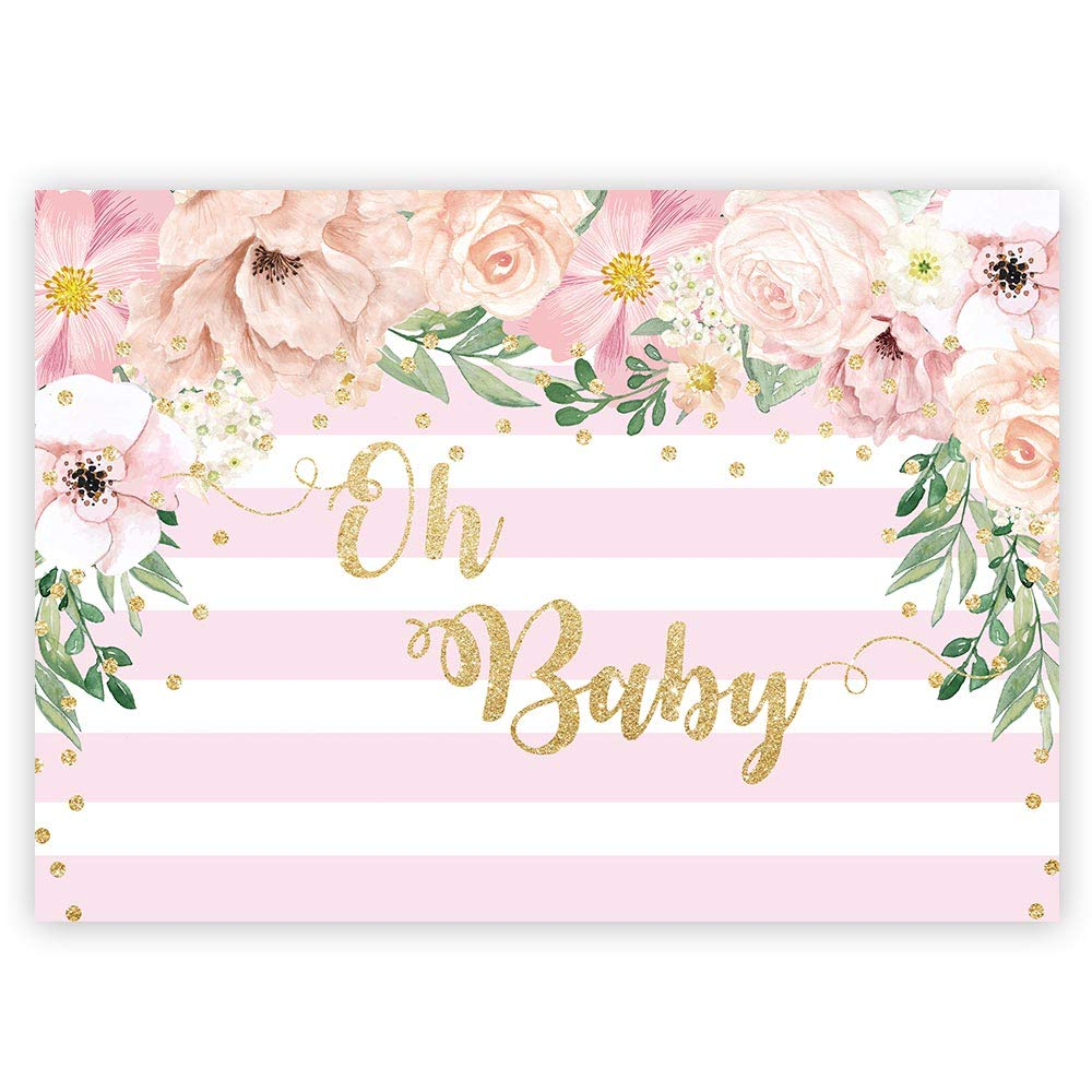 Funnytree 7x5ft Floral Oh Baby Girl Shower Party Backdrop Pastel Pink and White Stripes Flower Photography Background Golden Glitter Dots Cake Table Decoration Banner Photo Booth Props