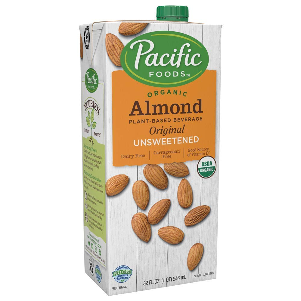 Pacific Foods, Almond Beverage, Unsweetened, Low Fat, Organic, 32 oz