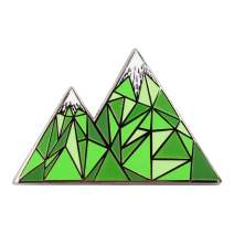 Real Sic Geometric Mountain Enamel Pin - Lapel Pin Series - Unisex Metal Pin for Bags, Shirts and Backpacks (Green)