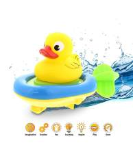Dollibu Boat Racer Buddy, Fun Educational Bath Toy Finger Puppet Pull and Go Water Racing Lake Pal for Shower Pool Bathtub Swim Hard Surfaces for Baby Toddler and Boy - 6 Inch - 3 in 1 Game - Duck