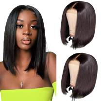 12 Inch Straight Bob Wig Human Hair 150% Density Bob Wigs for Black Women 4x6 Inch Lace Closure Wigs Brazilian Virgin Human Hair Wigs Natural Color