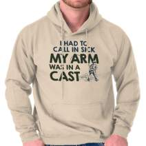 Call in Sick Arm in A Cast Funny Fishing Hoodie