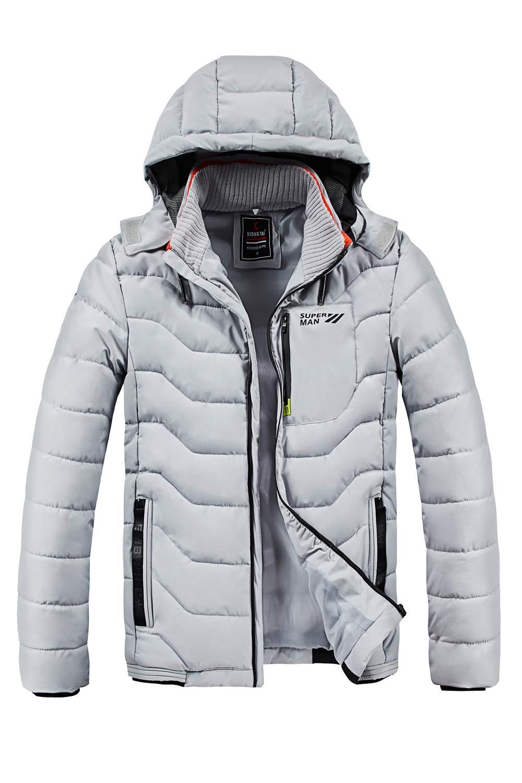 SCHONTAN Mens Puffer Jacket Parka Outerwear Coats with Detachable Hood