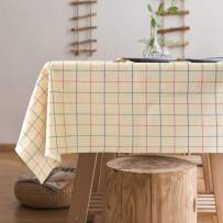 """Lamberia Heavyweight Vinyl Tablecloth Rectangle Wipe Clean PVC Tablecover Oil-Proof Spill-Proof Stain-Resistant (Beige Plaid, 55""""x120"""")"""