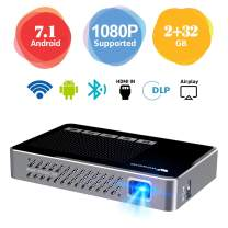 """Mini Projector WOWOTO A5 Pro Android 7.1 100ANSI 2+32G Portable DLP Video Projector 150"""" Home Theater Projectors with BT4.0 Support WiFi Wireless Screen Share 1080P HDMI USB SD Card"""