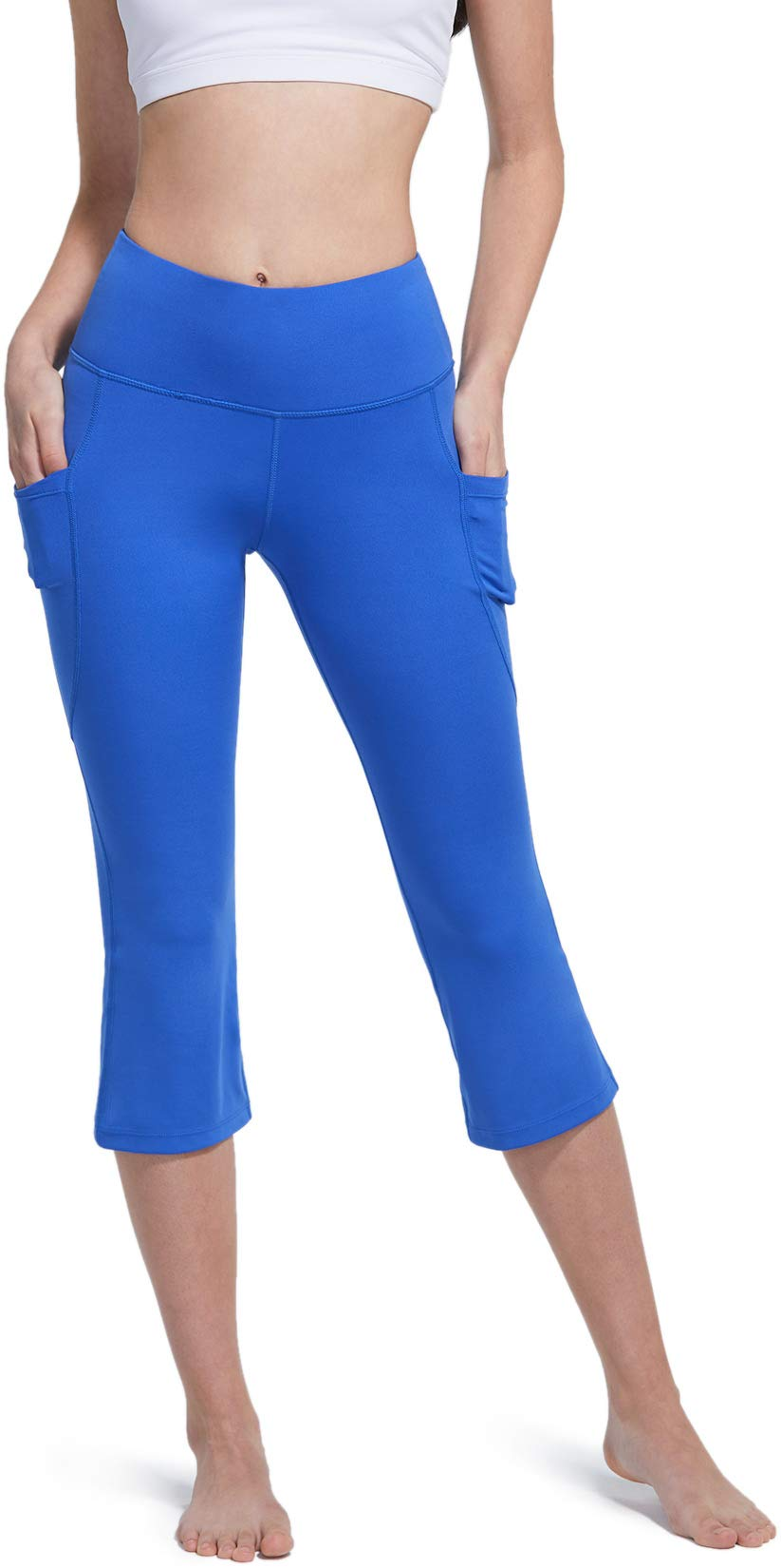 TSLA Women's Yoga Loungewear Capri Tapered Comfy Soft Running Casual Yoga Active with Pockets