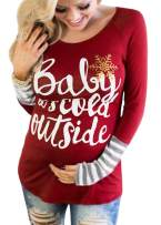 Christmas Baby It's Cold Outside Maternity T-Shirt Long Raglan Sleeve Snowflakes Top Tees for Pregnant Woman