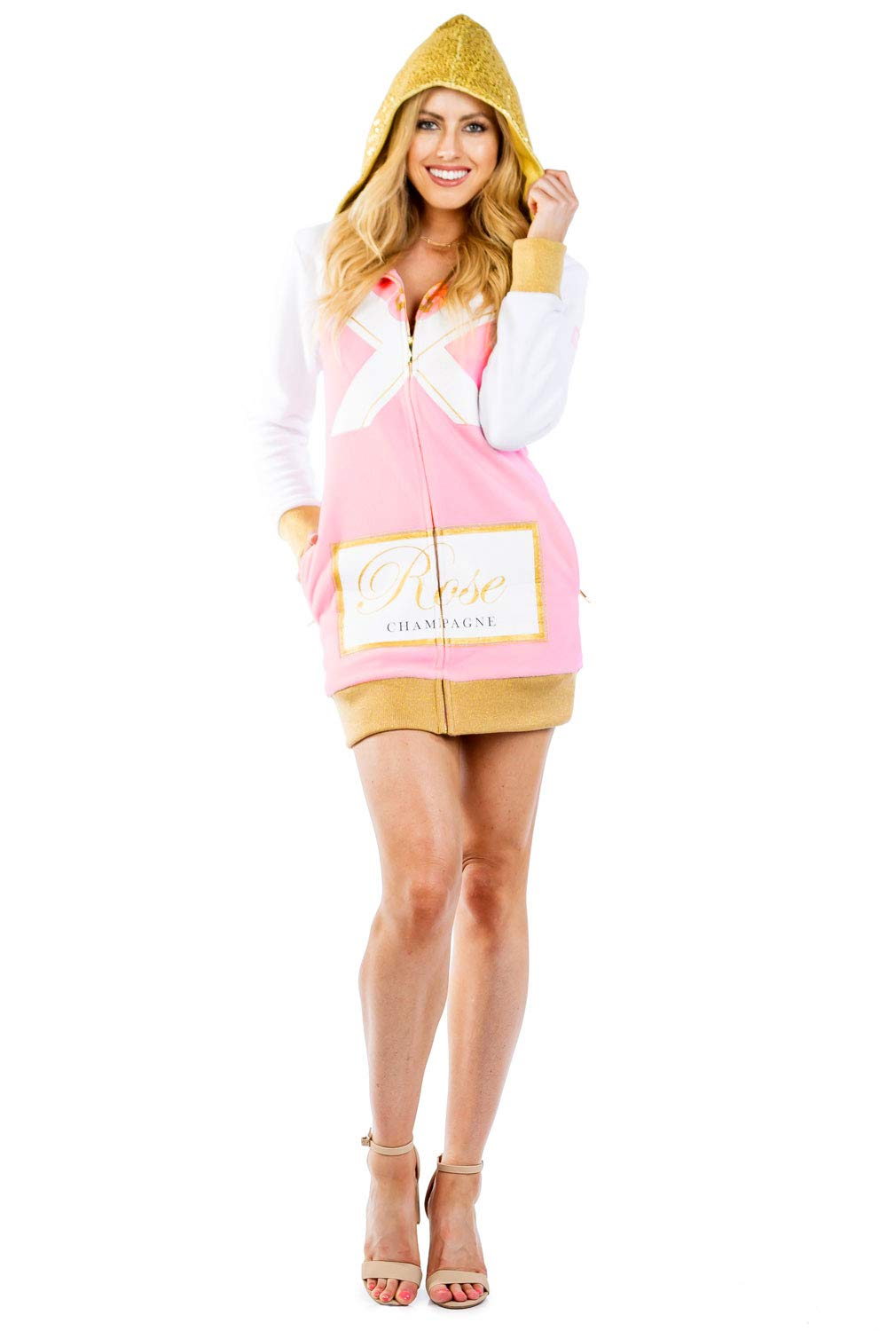 Tipsy Elves Women's Rosé Champagne Costume Dress w/Pockets - Mimosa Halloween Costume for Ladies
