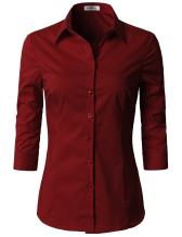 Doublju Womens Basic Slim Fit Simple 3/4 Sleeve Button Down Shirt with Plus Size