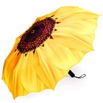 NVLFHY Sunflower Umbrella Manual Three Folding Umbrellas Windproof Opening and Closing Anti-Ultraviolet Sun Umbrella
