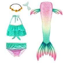 Mskseciy Mermaid Tails for Girls Swimming 3Pcs Mermaid Bathing Suit Swimsuit Princess Bikini for 3-12 Year Old