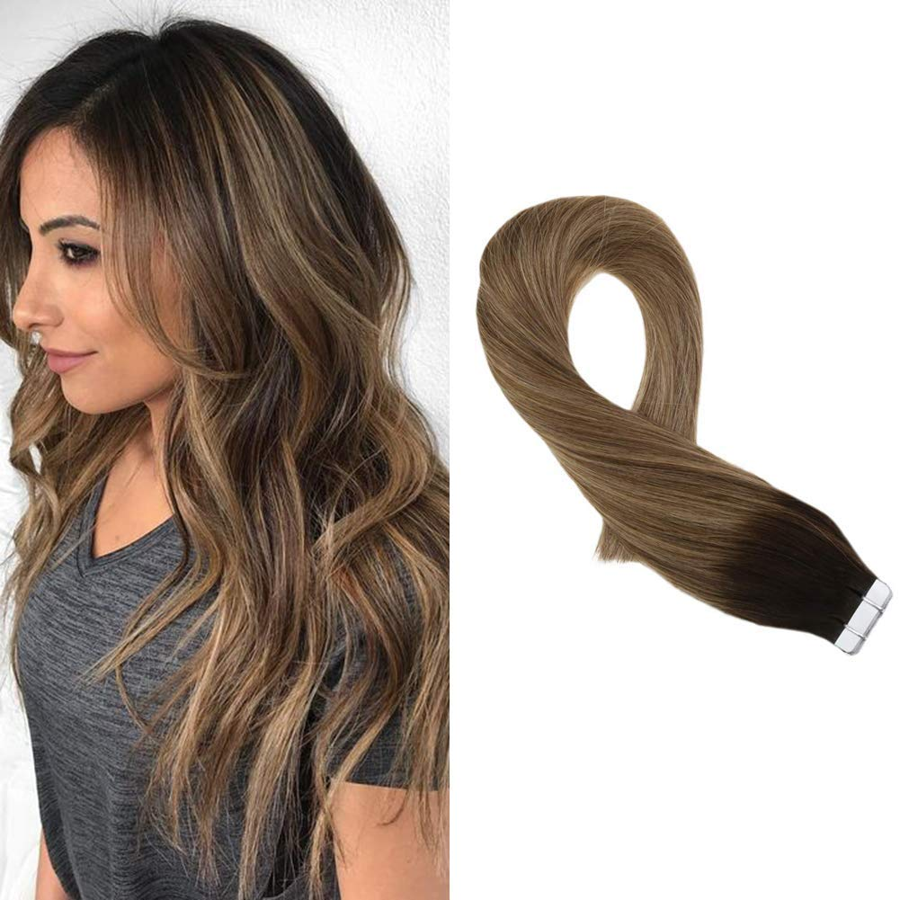 "Moresoo Glam Seamless Tape Hair Extensions 16"" Human Hair Tape in Extensions Color Darkest Brown #2 to #8 Light Brown Mixed with #12 Blonde Skin Weft Tape in Extensions 20PCS 50G Real Human Hair"