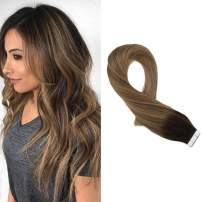 """Moresoo Glam Seamless Tape Hair Extensions 16"""" Human Hair Tape in Extensions Color Darkest Brown #2 to #8 Light Brown Mixed with #12 Blonde Skin Weft Tape in Extensions 20PCS 50G Real Human Hair"""