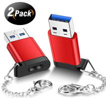 Elebase USB C Female to USB 3.0 Male Adapter (2 Pack),Type C to USB A Connector,Works with Laptops,Chargers,and More Devices with Standard USB A Interface(Red)