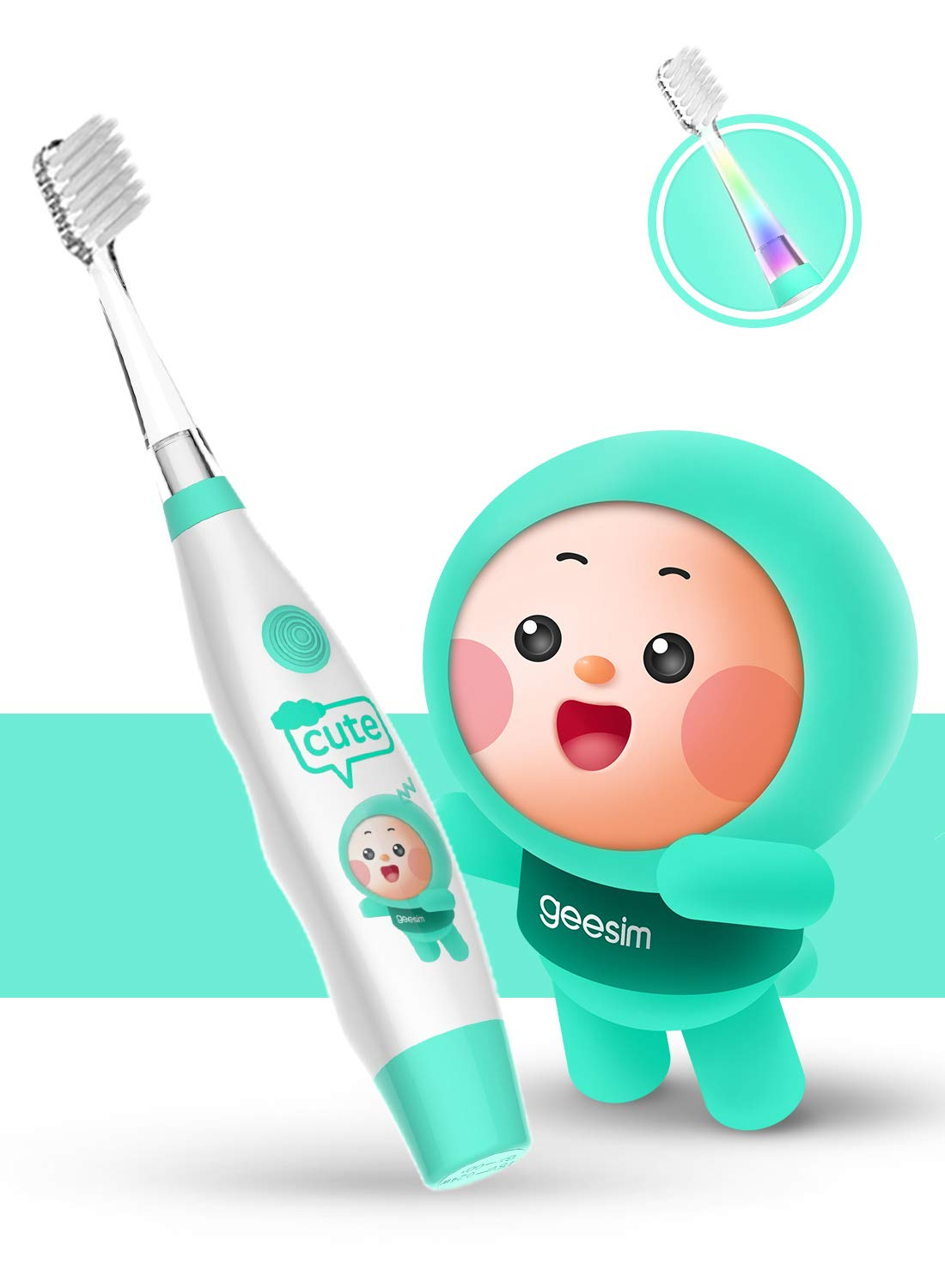 Kids& Baby Toothbrush Electric Sonic Battery Powered with Smart Timer and Colorful LED, Baby &Kids Electric Toothbrushes—Baby Sonic Toothbrush(Blue)