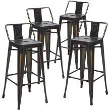 Aklaus Metal Bar Stools with Backs Counter Stools Set of 4 Counter Height Bar Stools Indoor Outdoor Bar Chairs 30 Inch Distressed Black Gold