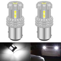 KATUR 1157 BAY15D P21/5W 2057 2357 7528 LED Bulbs High Power 12pcs 3020SMD Chipsets Extremely Bright 2800 Lumens Used for Backup Reverse Light, Tail Light, Brake Light, Xenon White (Pack of 2)