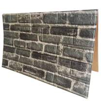 3D Wall Panels POPPAP 3D Visual Effects Foam Wall Panels Faux Brick Wallpaper Peel and Stick Dark Grey White Color Painted Brick Wallpaper 10 Tiles