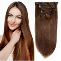 Friskylov Brazilian Clip in Human Hair Extensions 14Inch Dark Brown Straight Real Hair Extensions Clip ins Double Weft Clip On Hair Extensions 100g(3.52oz) 7Pieces With 16Clips in Hair for Women
