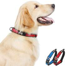 Reflective Dog Collar Heavy Duty Soft Pet Collar Breathable Adjustable Basic Dog Collars for Small Medium Large Dogs Red