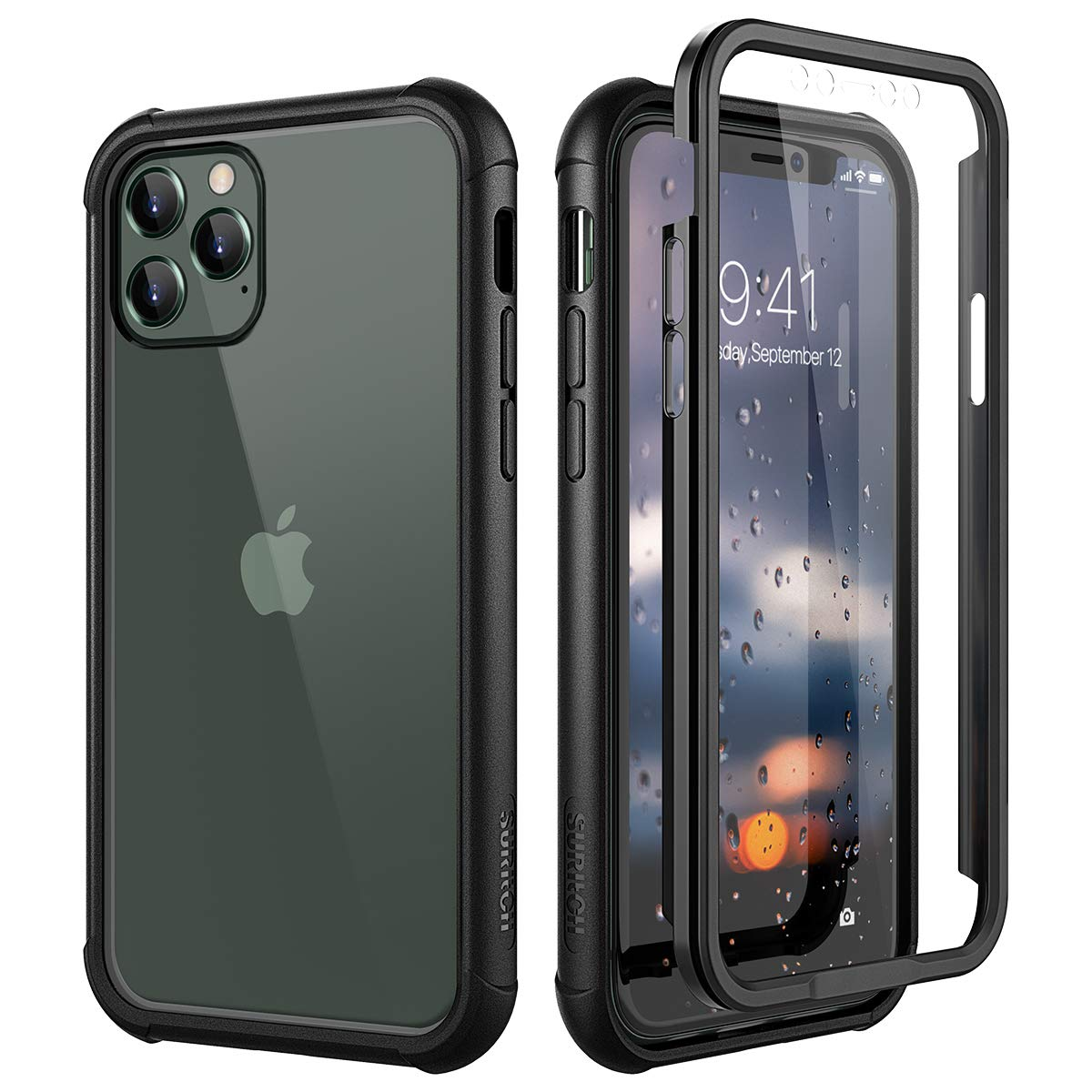 """SURITCH Clear Case for iPhone 11 Pro Max,【Built in Screen Protector】【Support Wireless Charging】 Hybrid Protection Hard Shell+Soft TPU Bumper Rugged Case Shockproof for iPhone 11 Pro Max 6.5""""(Black)"""