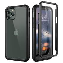 """SURITCH Clear Case for iPhone 11 Pro,【Built in Screen Protector】【Support Wireless Charging】 Hybrid Protection Hard Shell+Soft TPU Rubber Bumper Rugged Case Shockproof for iPhone 11 Pro 5.8""""(Black)"""