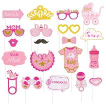It's a Girl Photo Booth Props on A Stick Baby Birthday Party Girl Baby Shower Kids Gender Reveal Party Supplies 20 Pcs SUNBEAUTY (Baby Shower Girl)
