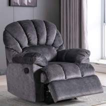 Fabric Recliner Chair, Overstuffed Pull Reclining Chair Living Room Chair - Short Plush Recliner Chair, Extra Comfortable for Bedroom Theater Room (Grey)
