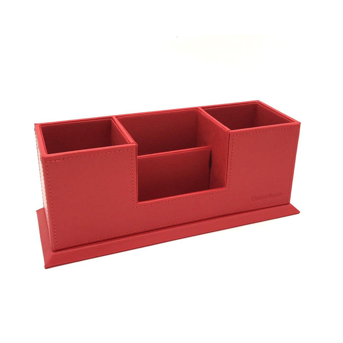 UnionBasic 4 Compartment Desk Organizer - Dual Pen Holder - Card/Pen/Pencil/Mobile Phone Office Supplies Holder (Red)